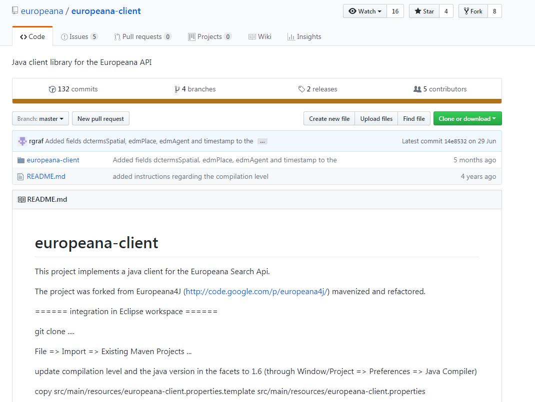 Europeana java Client library (formerly europeana4j)   Europeana Pro