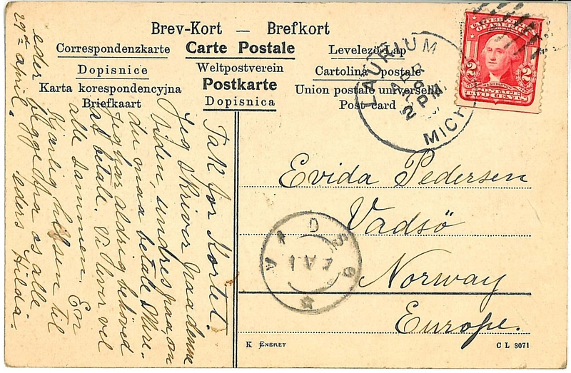 A postcard sent from an immigrant in the United States to relatives and friends in Norway