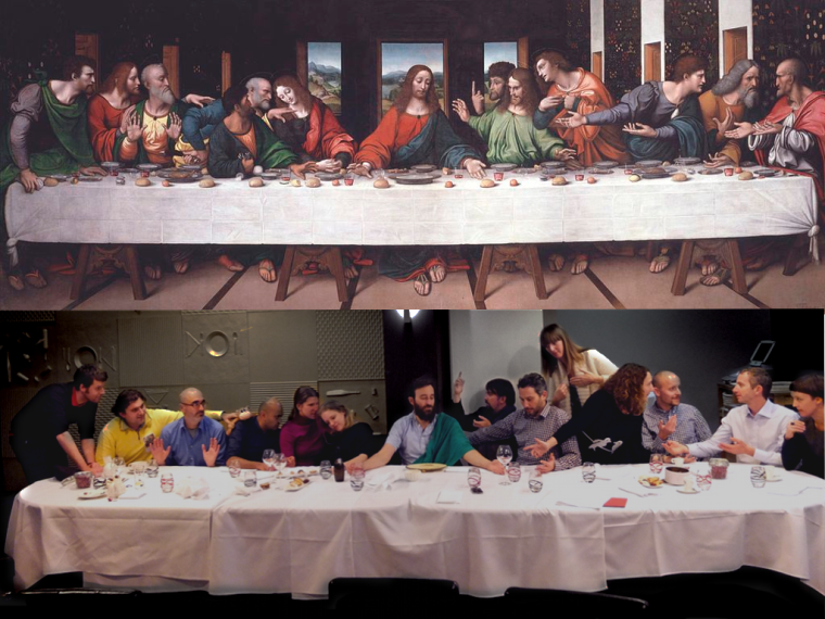 The Europeana Creative tourism Pilot team recreating the Last Supper in a restaurant in Mons. Great fun!