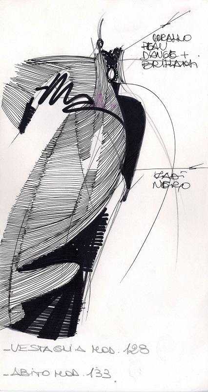 Silk taffeta and silk velvet cape with topstitching. Silk velvet dress. Alta Moda, Fall/Winter 1988. Pencil, fine black felt-tip pen, colored felt-tip pen on construction paper. Courtesy Fondazione Gianfranco Ferré, all rights reserved.