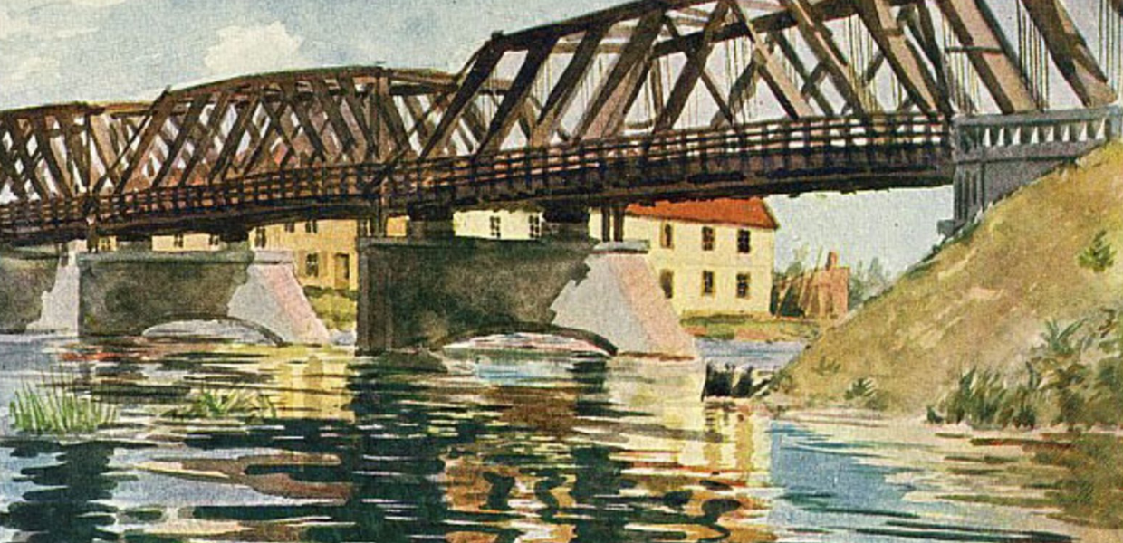 A painting of an iron bridge over a river