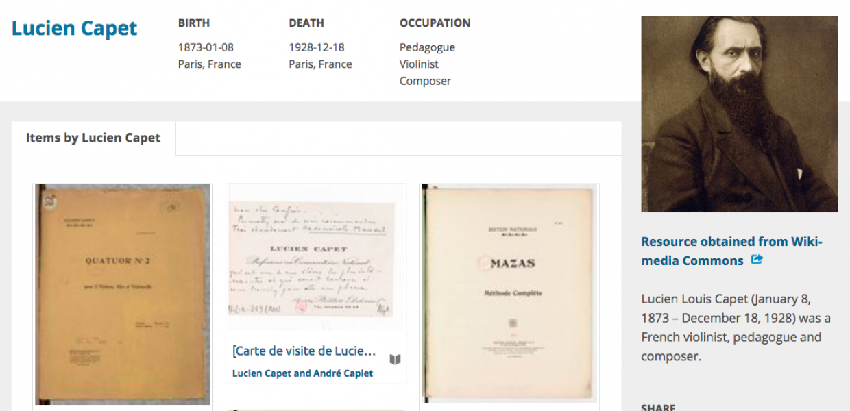 Lucien Capet entity page on Europeana Collections