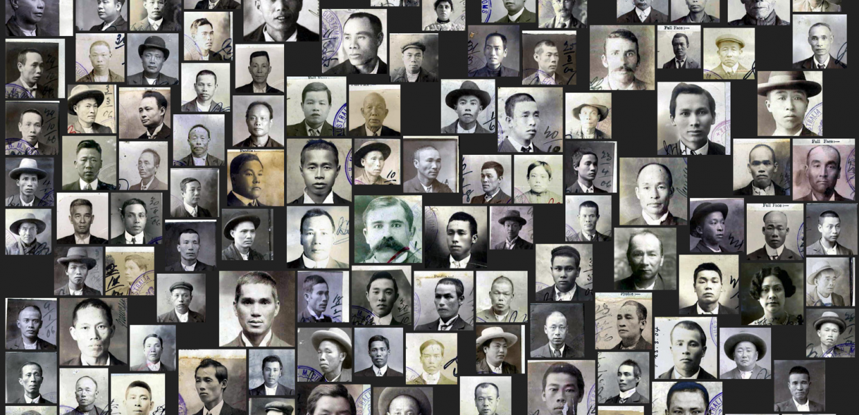 montage of portraits showing faces