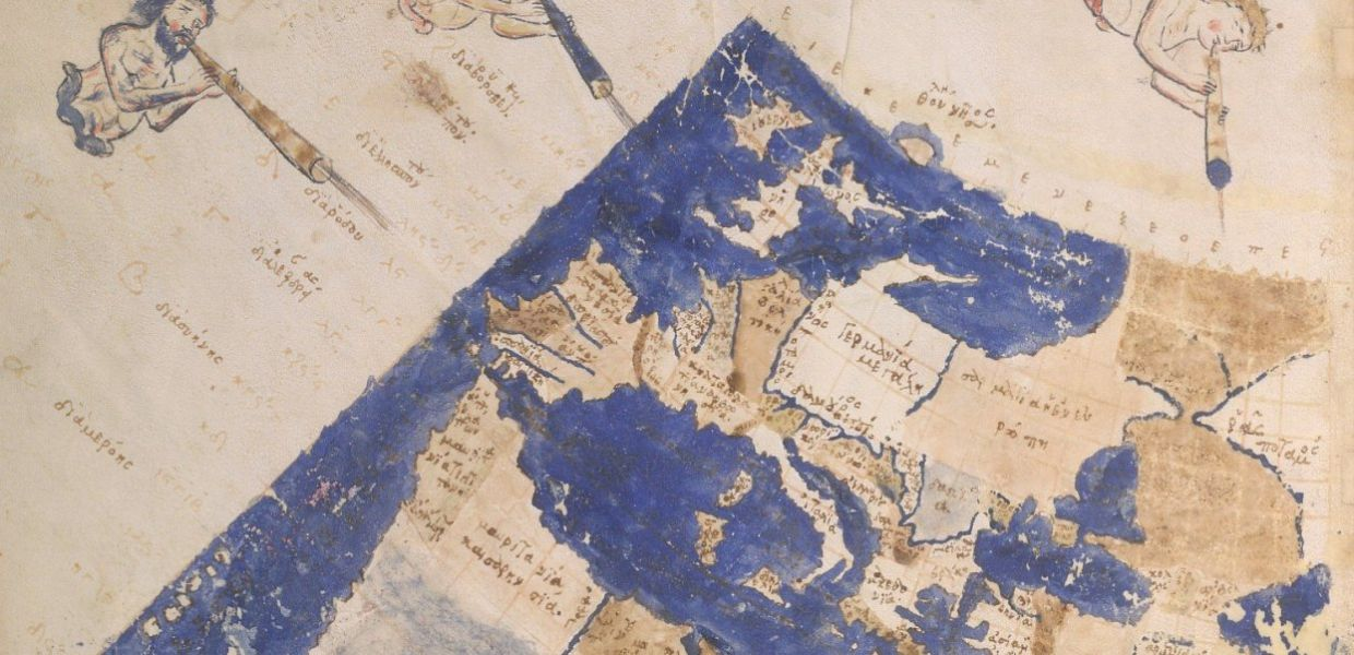 Detail of a drawing of a map, with the winds, written in Greek.