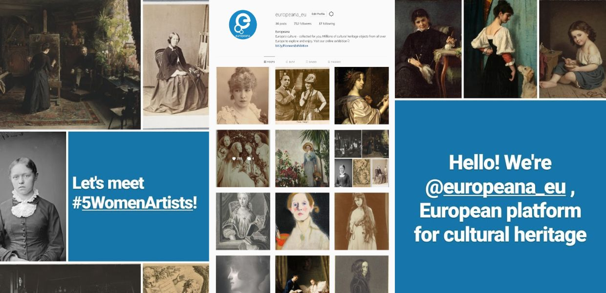 Screenshots of Europeana on Instagram