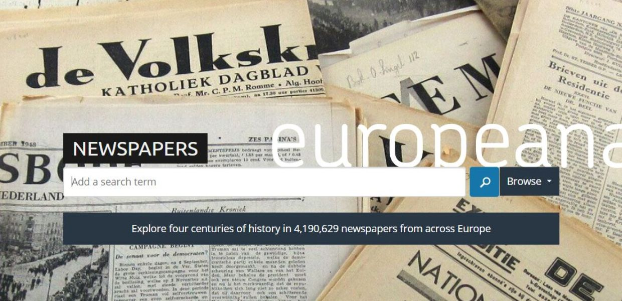 Europeana Newspapers search, showing various 'Oranjehuis' newspaper articles from Museon, CC BY.