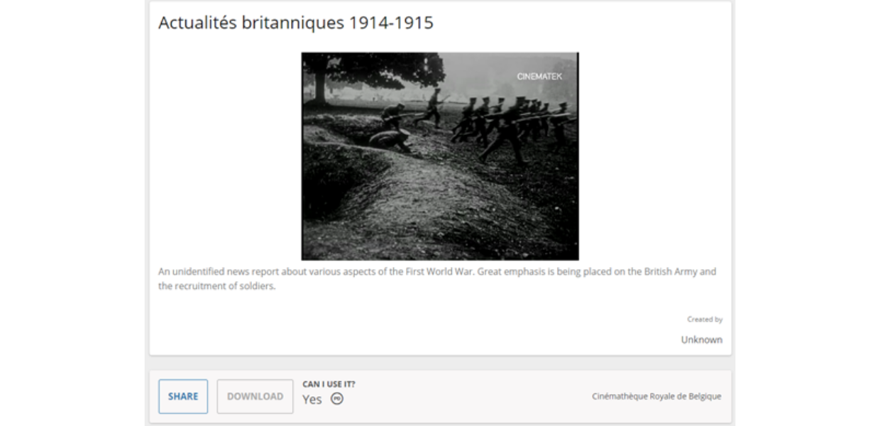 Audiovisual culture on the Europeana 1914-1918 platform: An unidentified news report about various aspects of the First World War