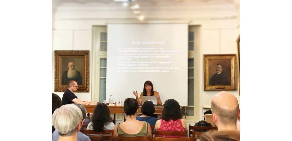 Dr. Agiatis Benardou at Athens University in June 2018, giving a seminar on the challenges of community-generated content in the digital domain.