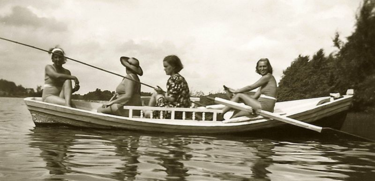 Four women in a boat