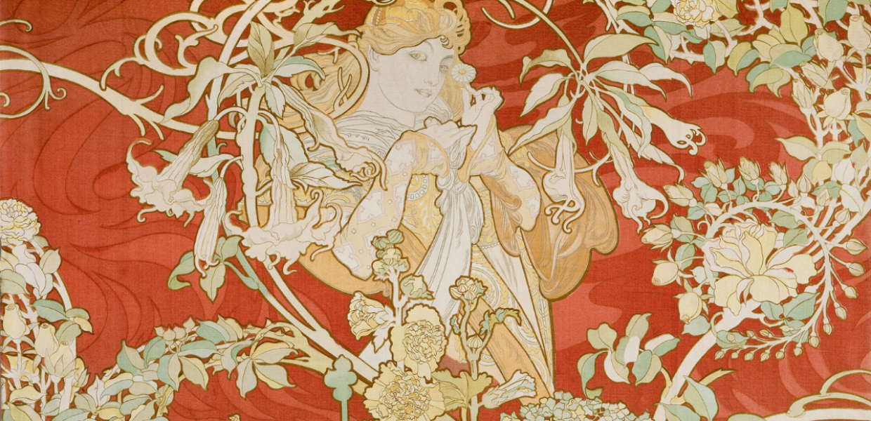 A textile showing a woman surrounded by flowers