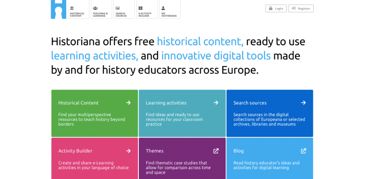 Historiana.eu landing page. Text reads 'Historiana offers free historical content, ready to use learning activities and innovative digital tools made by and for history educators across Europe.