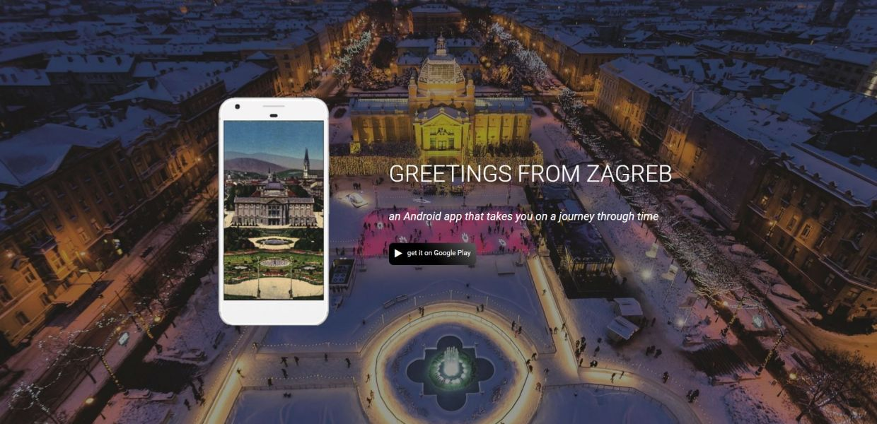 A screenshot of the Greetings from Zagreb app.