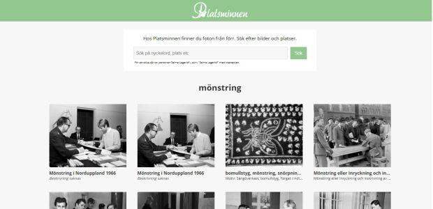 A screenshot of Platsminnen's website.