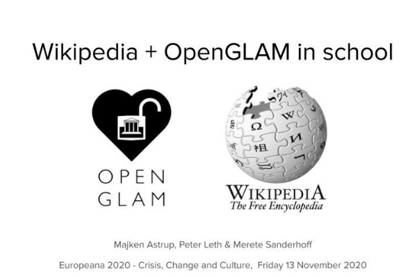 Wikipedia + OpenGLAM in school